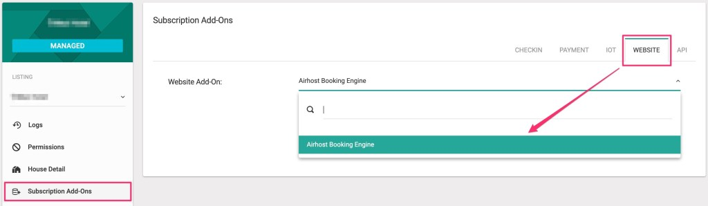 Add Airhost Booking Engine.