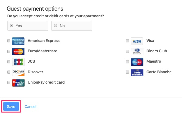 Select supported card types.